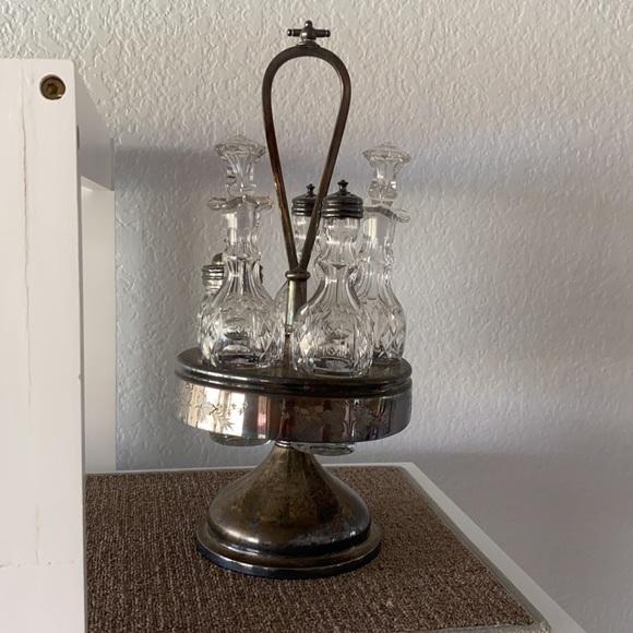 Antique cut crystal and silver cruet set